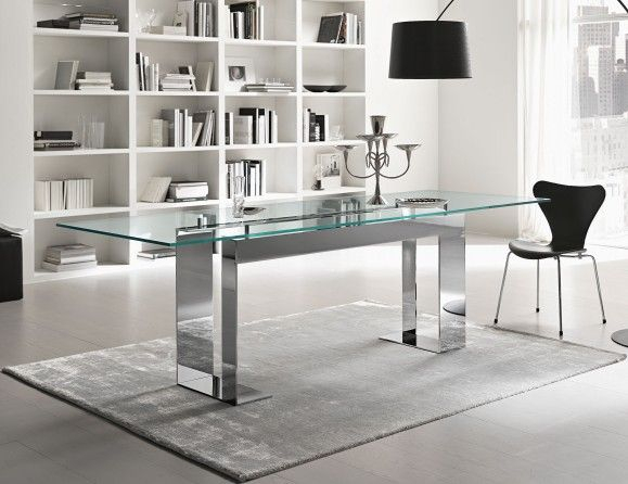 Miles Italian Designer Glass Dining Table Handmade In With Regard To Chrome Dining Tables With Tempered Glass (View 6 of 25)