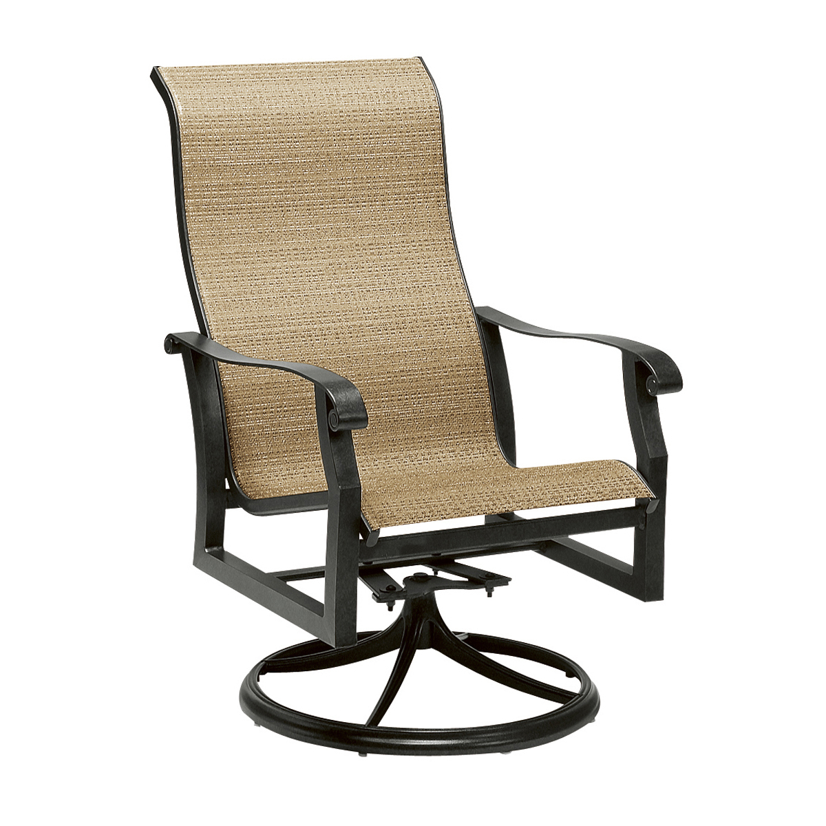 Milgreen Patio Furniture Cortland Sling Swivel Counter Stool In Padded Sling High Back Swivel Chairs (View 23 of 25)
