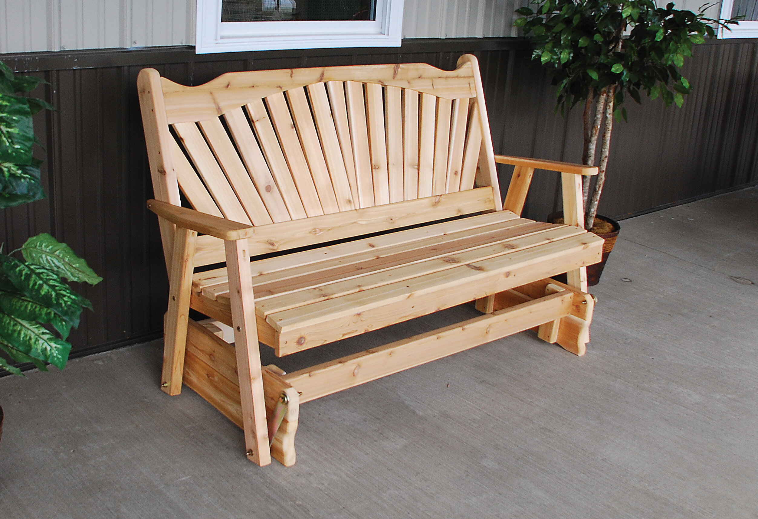 Millwood Pines Gazaway Fanback Glider Bench | Wayfair Within Cedar Colonial Style Glider Benches (View 12 of 25)