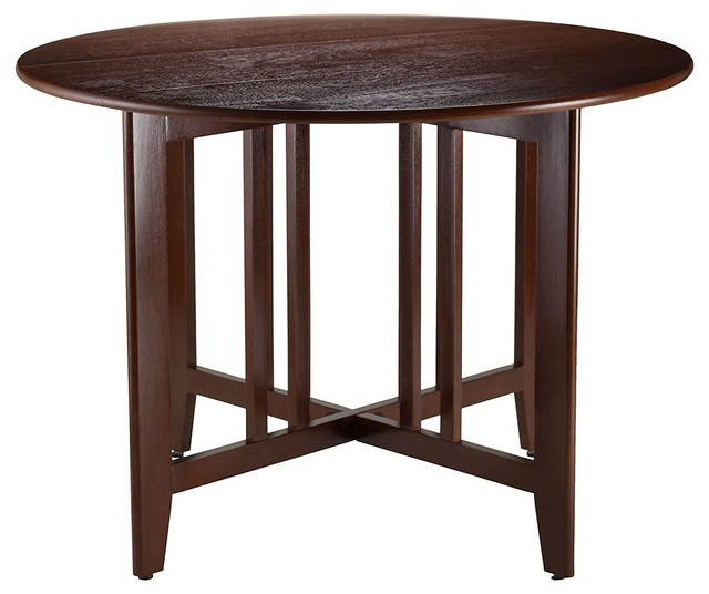 Mission Style Round 42 Inch Double Drop Leaf Dining Table Intended For Transitional Antique Walnut Drop Leaf Casual Dining Tables (View 3 of 25)