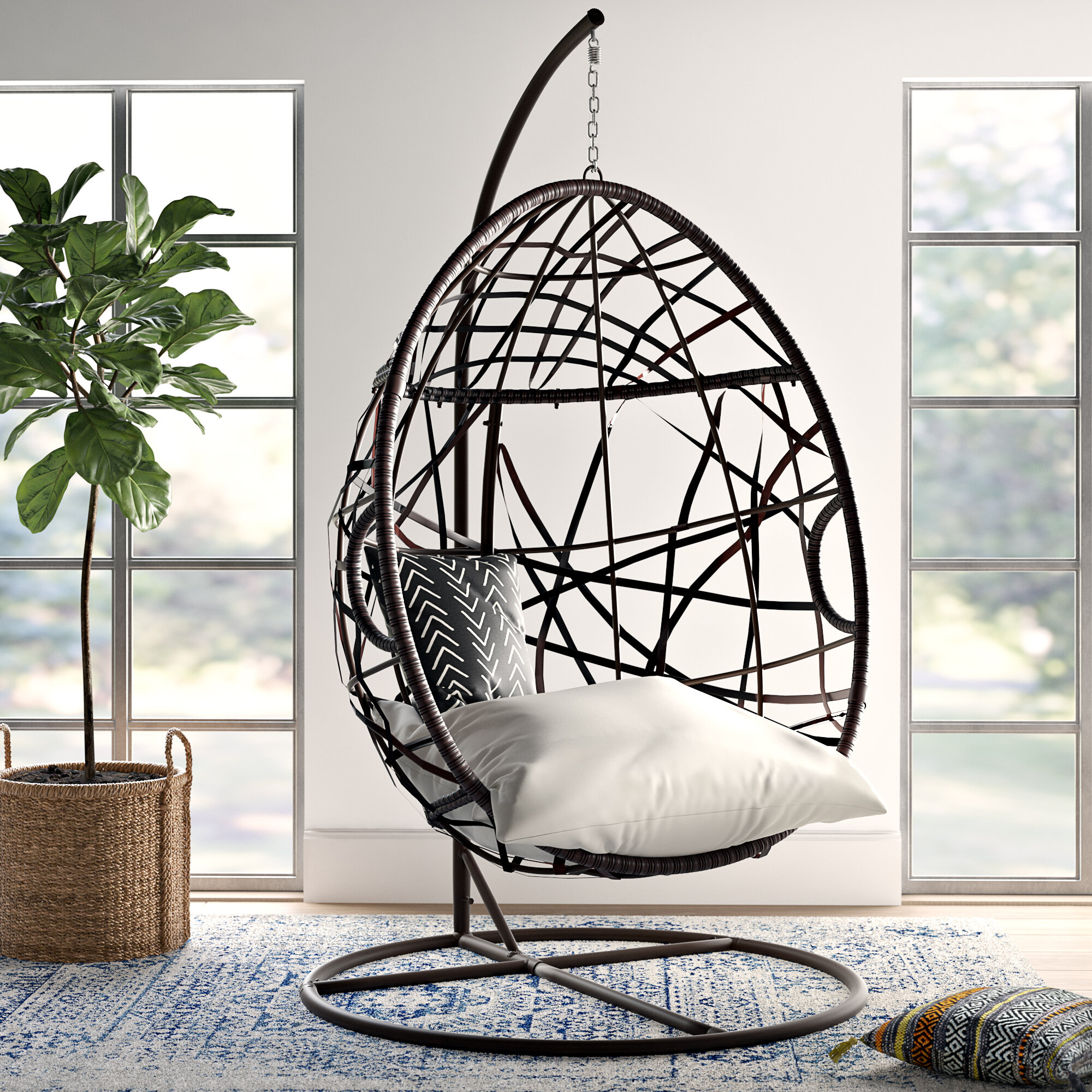 Mistana Anner Tear Drop Swing Chair With Stand & Reviews Pertaining To Outdoor Wicker Plastic Tear Porch Swings With Stand (View 6 of 25)