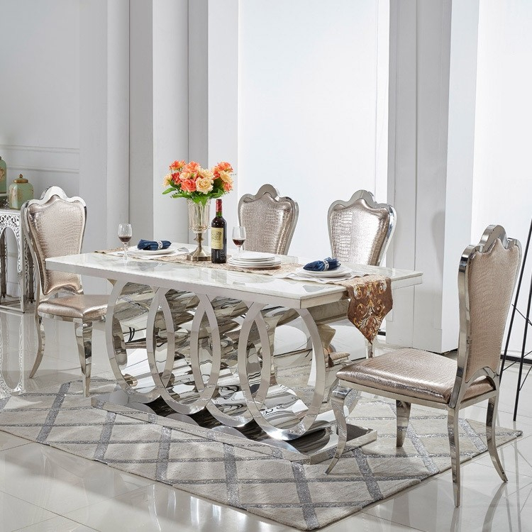 "Modern 72"" Rectangular Pedestal Dining Table Faux Marble & Stainless Steel In Chrome Throughout Faux Marble Finish Metal Contemporary Dining Tables (View 17 of 25)"