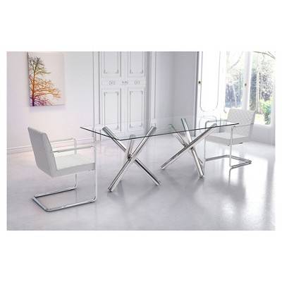 "Modern 79"" Rectangular Tempered Glass And Chrome Stainless Within Chrome Dining Tables With Tempered Glass (View 12 of 25)"