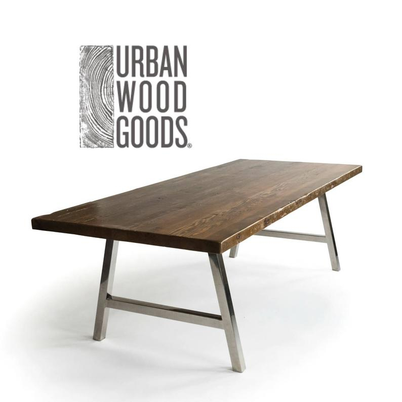 Modern Architect A Frame Dining Table With Brushed Stainless Steel Base, (View 8 of 25)