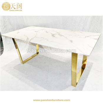 Modern Brass Golden Steel Rectangle White Marble Top Goldfinger Dining  Table – Buy Goldfinger Dining Table,marble Dining Table,brass Dining Table Intended For Dining Tables With White Marble Top (Image 15 of 25)