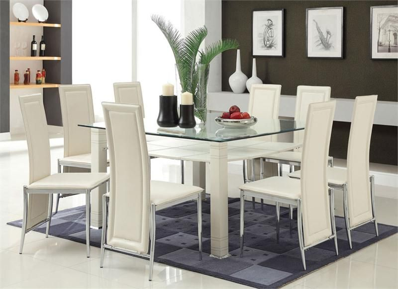 Modern Cream & Chrome Glass Table W/ Six Chairs | Modern With Chrome Contemporary Square Casual Dining Tables (View 4 of 25)