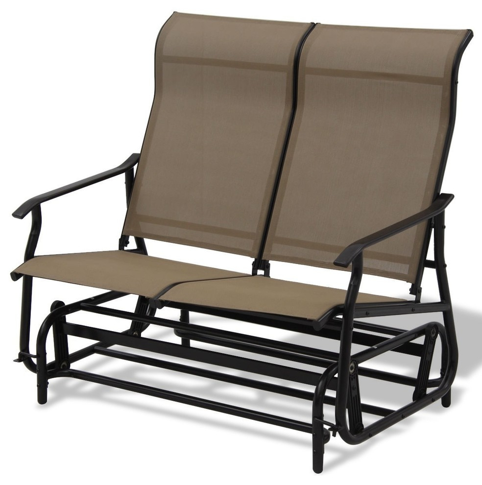 Modern Double Patio Glider Rocking Armchair With Regard To Center Table Double Glider Benches (View 24 of 25)