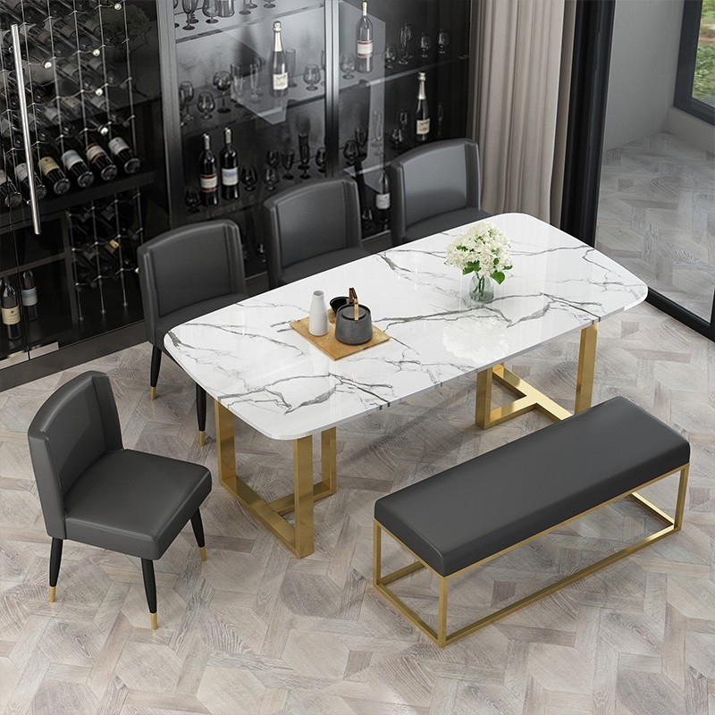 Modern Elegant Dining Table With Faux Marble Top & Metal Legs Single Piece Rectangular Kitchen Table Small/medium/large In Gold Intended For Faux Marble Finish Metal Contemporary Dining Tables (View 25 of 25)