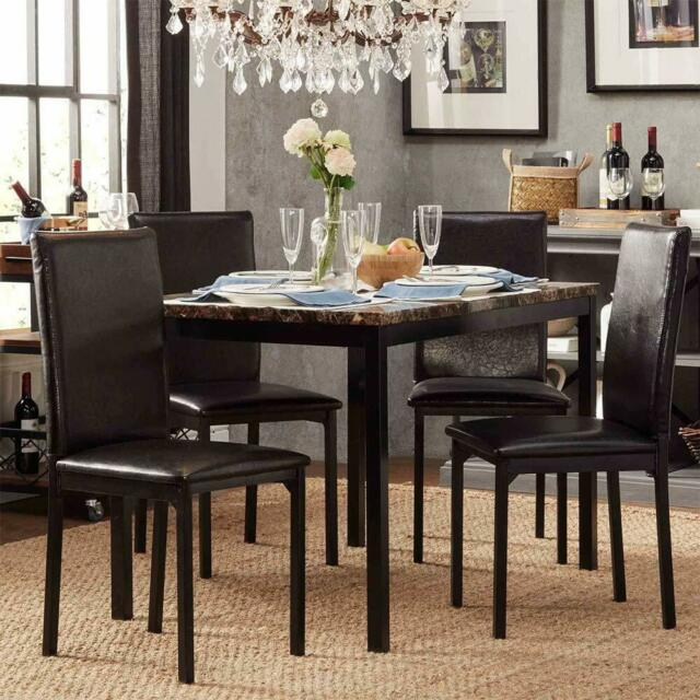 Modern Faux Marble Top Metal Frame 5 Piece Dining Set – Black Finish Within Faux Marble Finish Metal Contemporary Dining Tables (View 10 of 25)