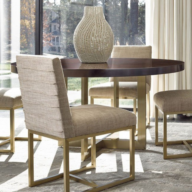 Modern Gibson Round Dining Table (Mahogany) Regarding Artefac Contemporary Casual Dining Tables (Image 20 of 25)
