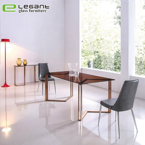 Modern Glass Dining Table With Stone Powder Finish And Black Legs In Dining Tables With Black U Legs (View 22 of 25)