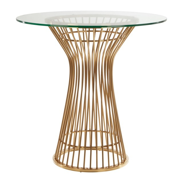 Modern Home – Pose Round Dining Table Gold Finish Central For Modern Gold Dining Tables With Clear Glass (View 24 of 26)