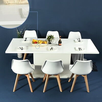 Modern Kitchen Dining Table Extendable Wooden 4 8 Seaters Inside 8 Seater Wood Contemporary Dining Tables With Extension Leaf (View 15 of 25)