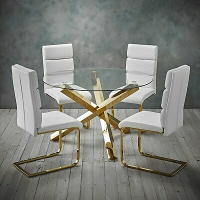 Modern Polished Gold Round Clear Glass Dining Table   Ebay Intended For Modern Gold Dining Tables With Clear Glass (View 16 of 26)