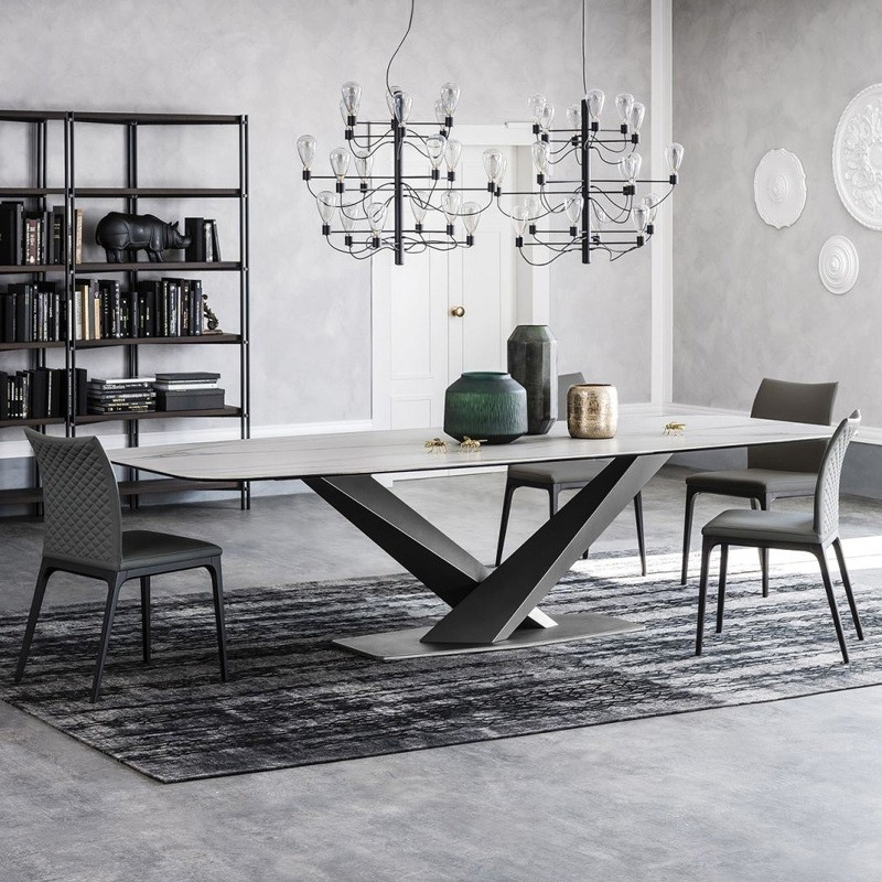 "Modern Rectangular 63"" / 71"" / 79"" Faux Marble Dining Table Black Metal X Base White Marble Dining Table Pertaining To Faux Marble Finish Metal Contemporary Dining Tables (View 7 of 25)"