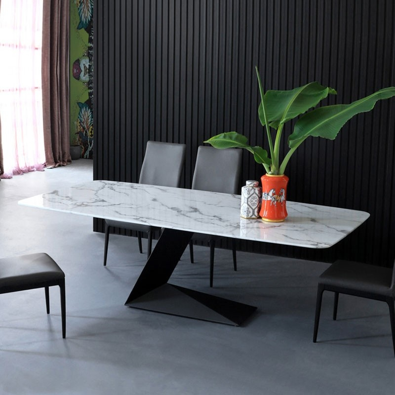 "Modern Rectangular 63"" White Faux Marble Dining Table With L Shaped Base In Black Finish Throughout Faux Marble Finish Metal Contemporary Dining Tables (View 5 of 25)"