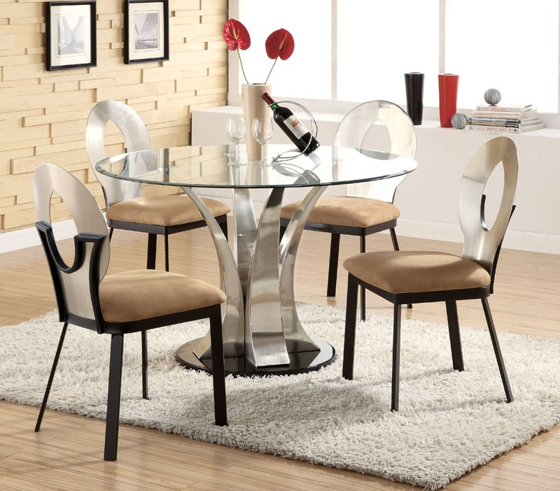 Modern Round Dining Table Set — Liberty Decoration From Inside Modern Round Glass Top Dining Tables (Image 12 of 25)