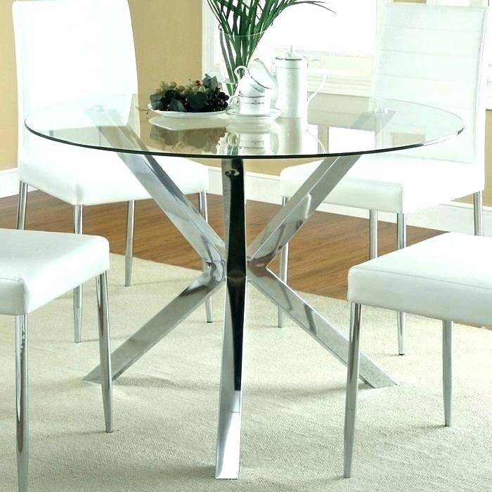 Modern Round Glass Dining Table Top Set And Chairs Rooms Regarding Modern Round Glass Top Dining Tables (Image 15 of 25)