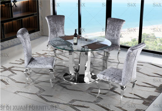 Modern Round Glass Top Table Set Stainless Steel Base Dining Room Furniture  Table Pertaining To Modern Round Glass Top Dining Tables (Image 16 of 25)