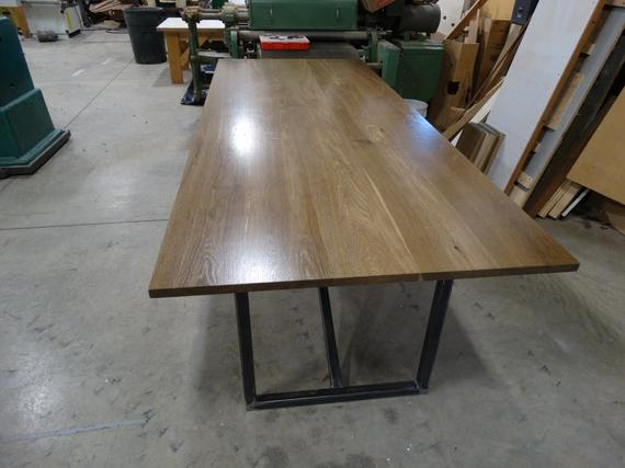Modern Rustic Fumed Oak Dining Table With A Blackened Steel Base Within Fumed Oak Dining Tables (View 8 of 25)