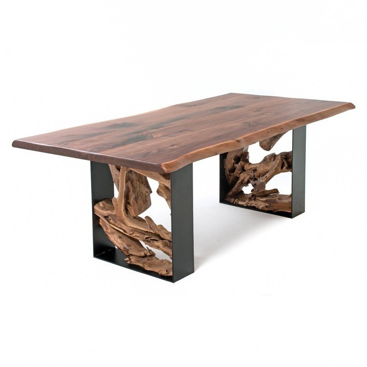 Modern Rustic Live Edge Table Dt01052 Regarding Walnut Finish Live Edge Wood Contemporary Dining Tables (Image 21 of 25)