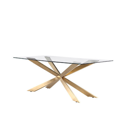 Modern Stainless Steel Cross Legs Gold Rectangle Clear Glass Pertaining To Modern Gold Dining Tables With Clear Glass (View 4 of 26)
