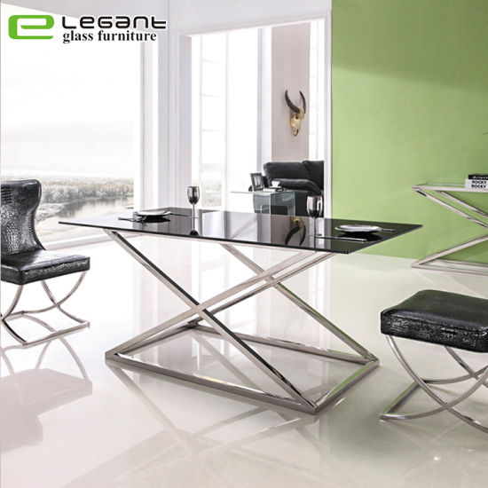 Modern Stainless Steel Metal Leg Tempered Glass Dining Table With Glass Dining Tables With Metal Legs (View 14 of 25)