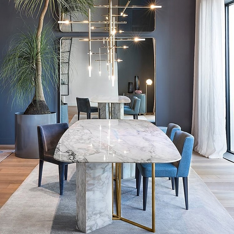 "Modern Stylish 63"" / 71"" / 79"" White Faux Marble Dining Table Rectangular  Table In Brushed Gold With Dining Tables With Brushed Gold Stainless Finish (Image 21 of 25)"