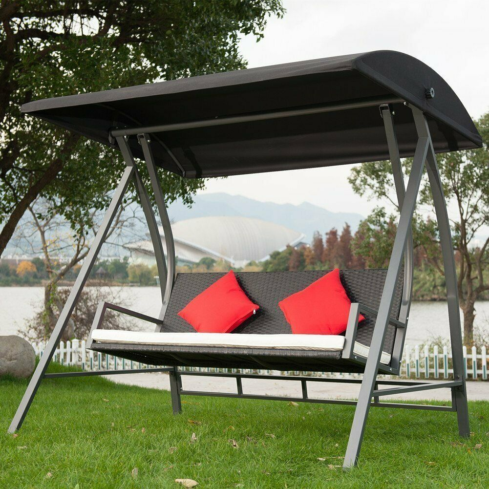 Modern Swing Outdoor Lounge Chair 3 Seats Garden Patio Pe Wicker Glider  Bench Pertaining To 3 Seats Patio Canopy Swing Gliders Hammock Cushioned Steel Frame (Image 19 of 25)