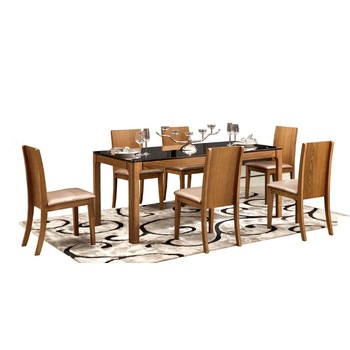 Modern Walnut Rectangular 6 Seater Glass Top Dining Table – Buy Rectangular Dining Table,glass Top Dining Table,6 Seater Glass Dining Table Product On For 6 Seater Retangular Wood Contemporary Dining Tables (View 5 of 25)