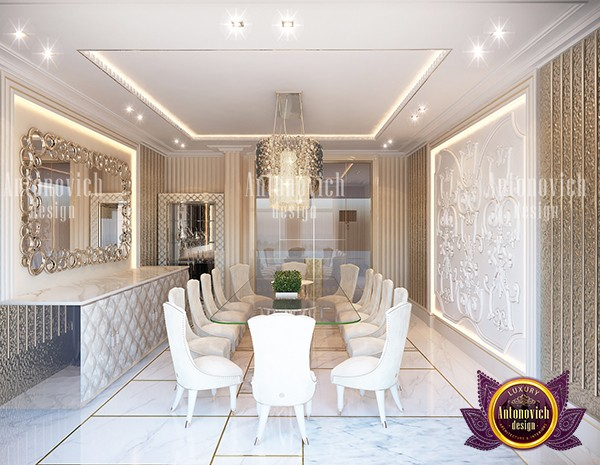Modern White And Gold Dining Interior Inside Modern Gold Dining Tables With Clear Glass (View 14 of 26)