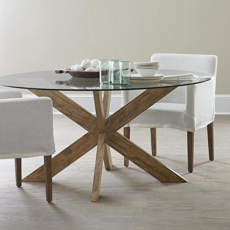 Modern X Base Dining Table In Brown In Modern Round Glass Top Dining Tables (Image 17 of 25)