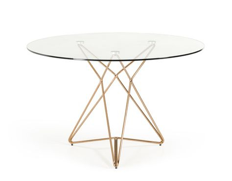 Modrest Ashland Modern Glass Round Dining Table In 2019 Intended For Modern Gold Dining Tables With Clear Glass (View 8 of 26)