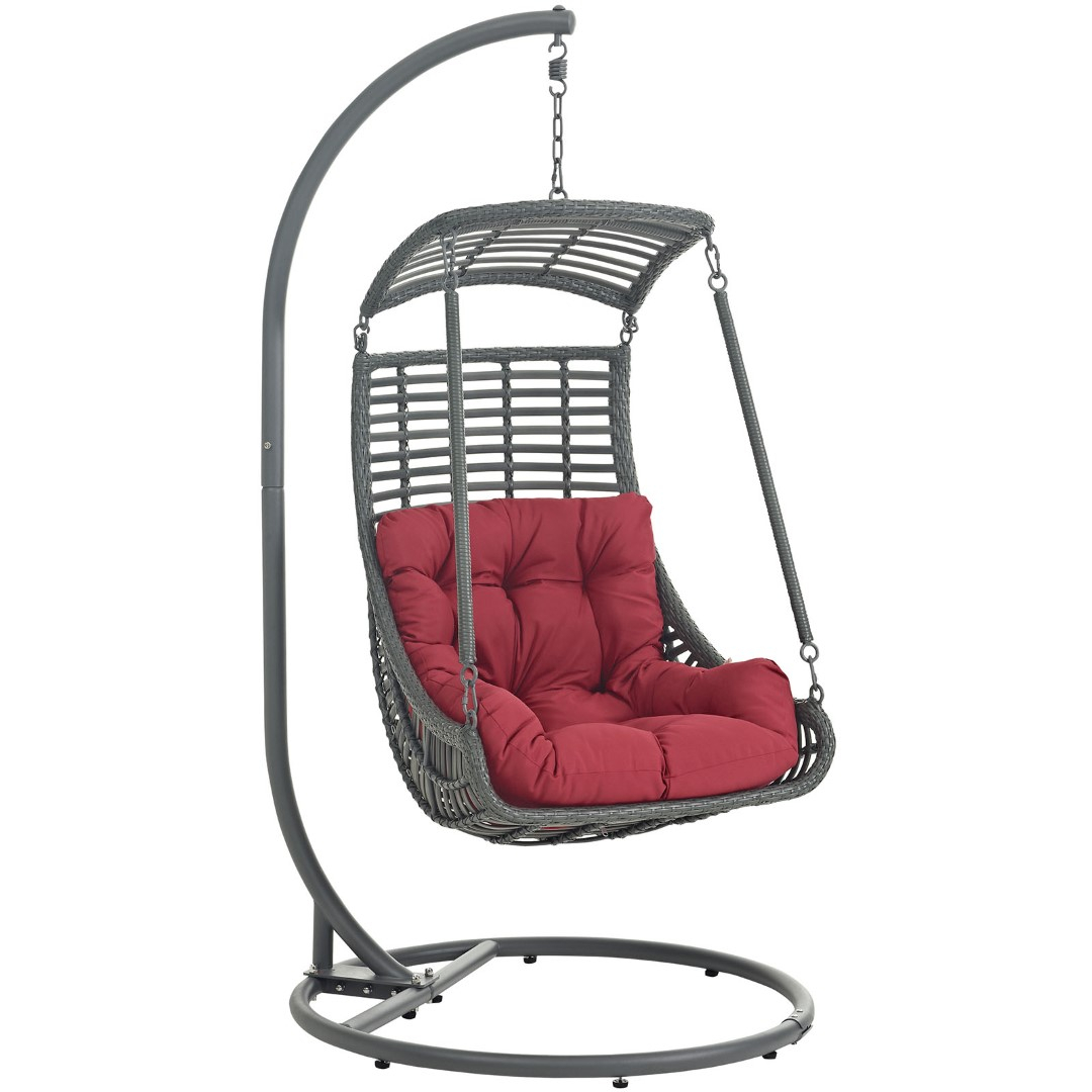 Modway Jungle Outdoor Patio Wicker Rattan Swing Chair With Intended For Outdoor Pvc Coated Polyester Porch Swings With Stand (View 23 of 25)