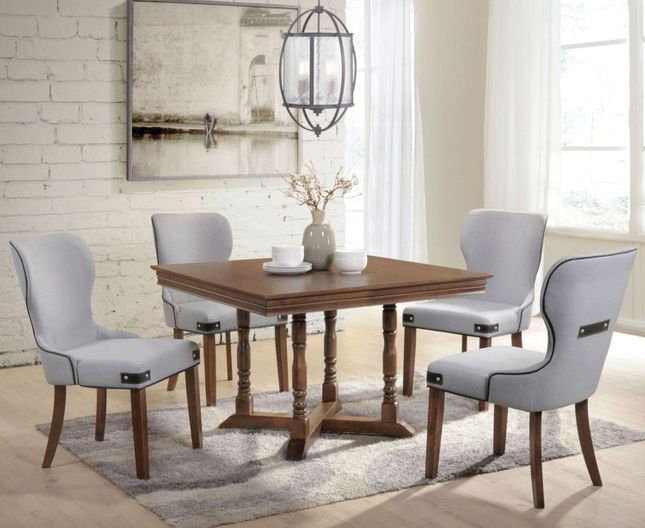 "Mondovi Transitional 43"" Square Pedestal Dining Table Set In Throughout Transitional 4 Seating Square Casual Dining Tables (View 6 of 25)"