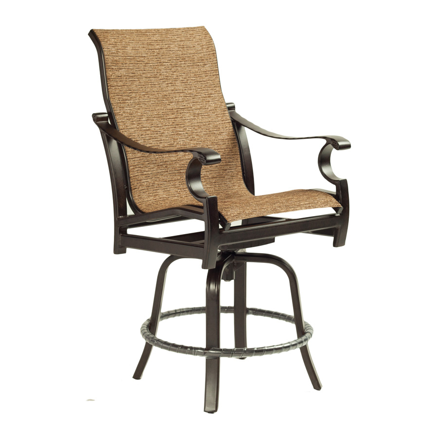 Monterey High Back Sling Swivel Counter Stool – Castelle Pertaining To Sling High Back Swivel Chairs (View 21 of 25)