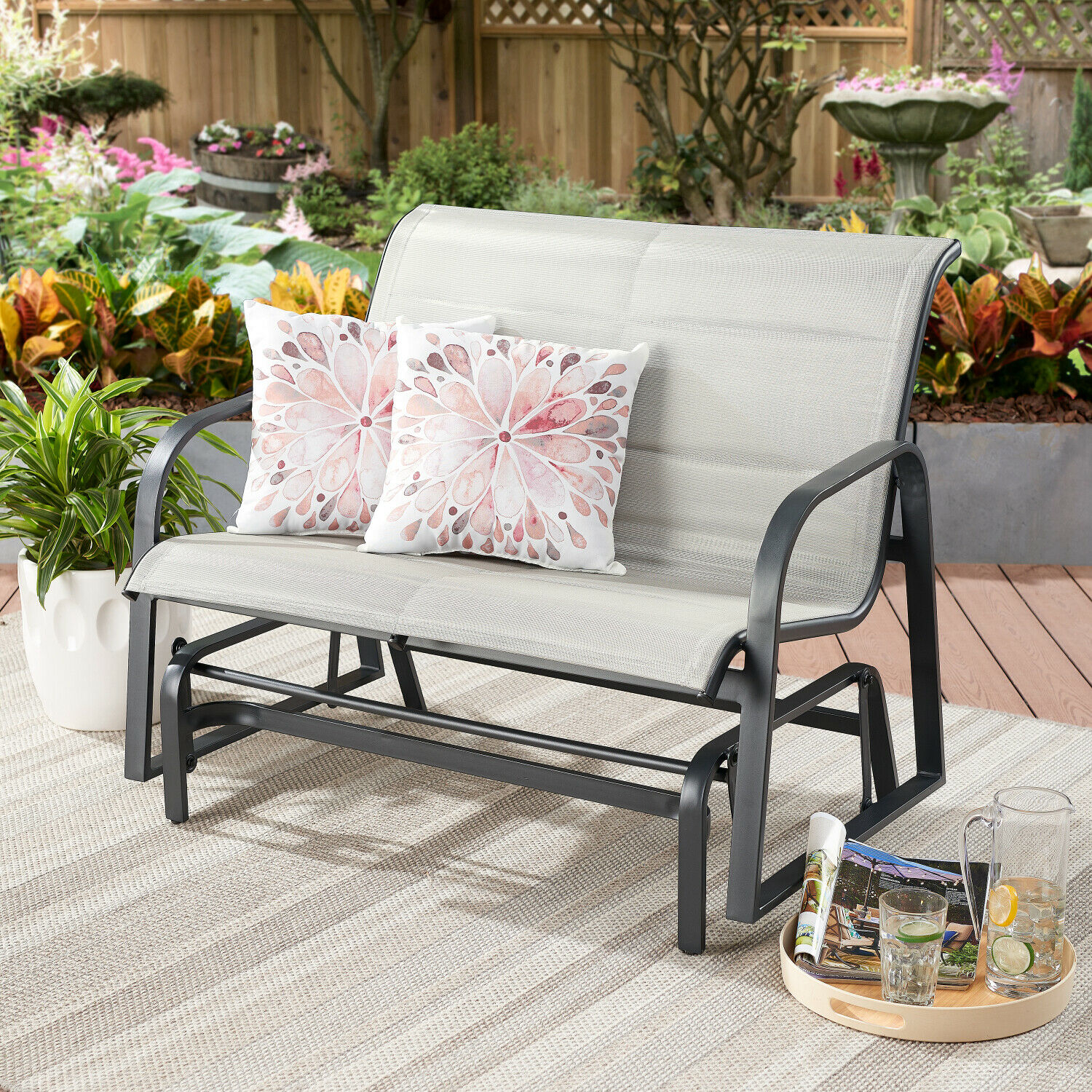 Montrose Padded Sling Glider Bench Outdoor Garden Patio Porch Furniture Chair Intended For Padded Sling Double Glider Benches (View 20 of 25)