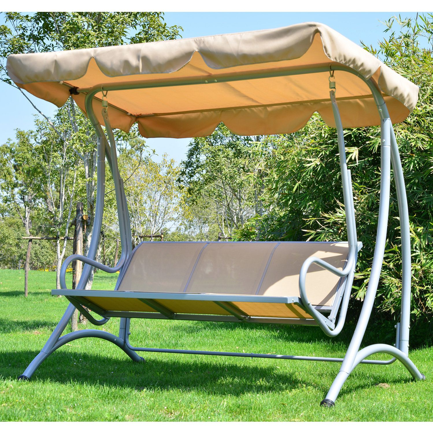 Mossley Canopy Porch Swing With Stand | Outdoor Patio Swing Regarding Outdoor Canopy Hammock Porch Swings With Stand (View 3 of 25)