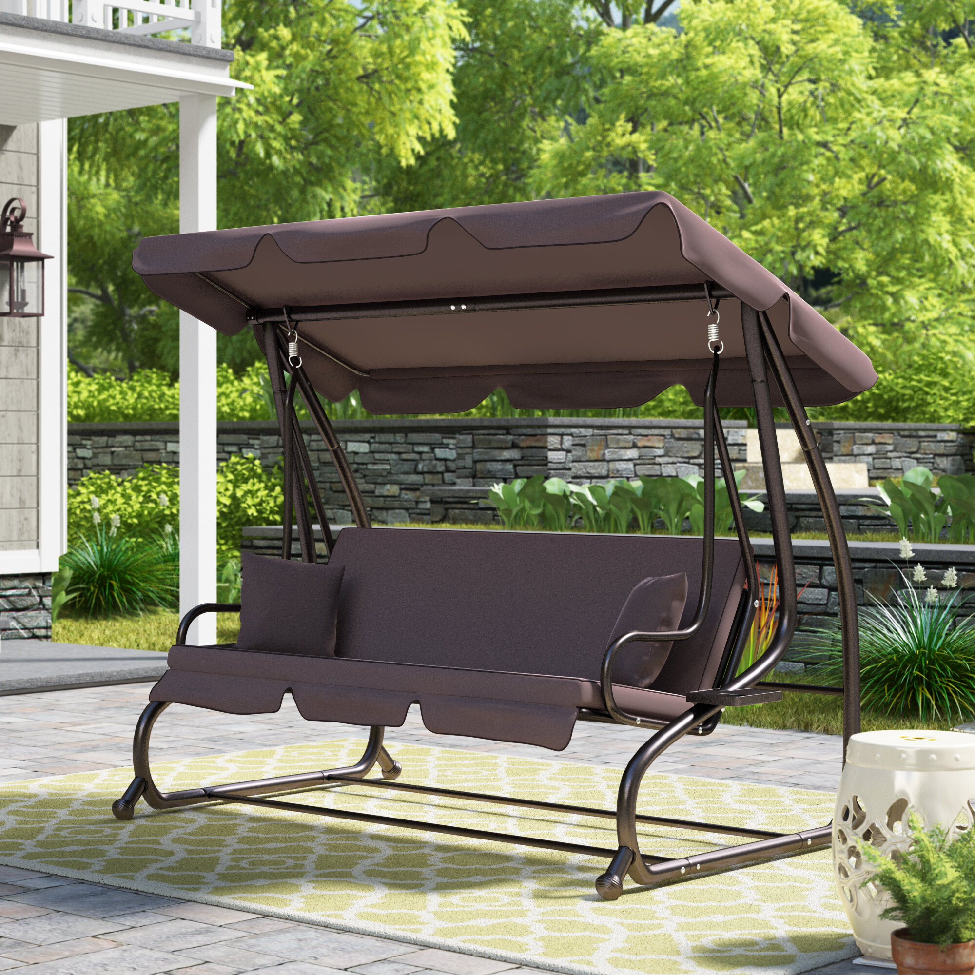 Mossley Canopy Porch Swing With Stand With Canopy Porch Swings (View 9 of 25)
