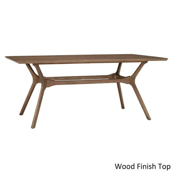 Nadine Mid Century Walnut Finish Rectangular Dining Table With Mid Century Rectangular Top Dining Tables With Wood Legs (View 12 of 25)