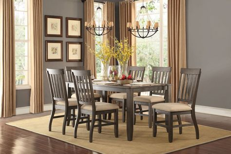 Nantes 7Pcs Dining Set 5423 For $692 (Dining Table,6 Side With Transitional 6 Seating Casual Dining Tables (Image 20 of 25)
