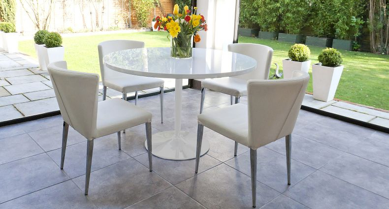Naro White Round And Curva 4 Seater Dining Set | Small White In 4 Seater Round Wooden Dining Tables With Chrome Legs (View 4 of 25)