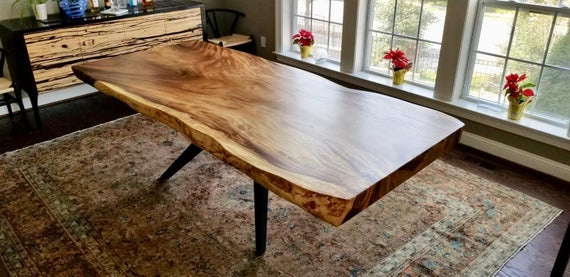 Natural Live Edge Wood Slab Dining Table With Mantis Metal Base In Black .  Live Edge Dining Table . Acacia Wood Slab Table  (Image 20 of 25)