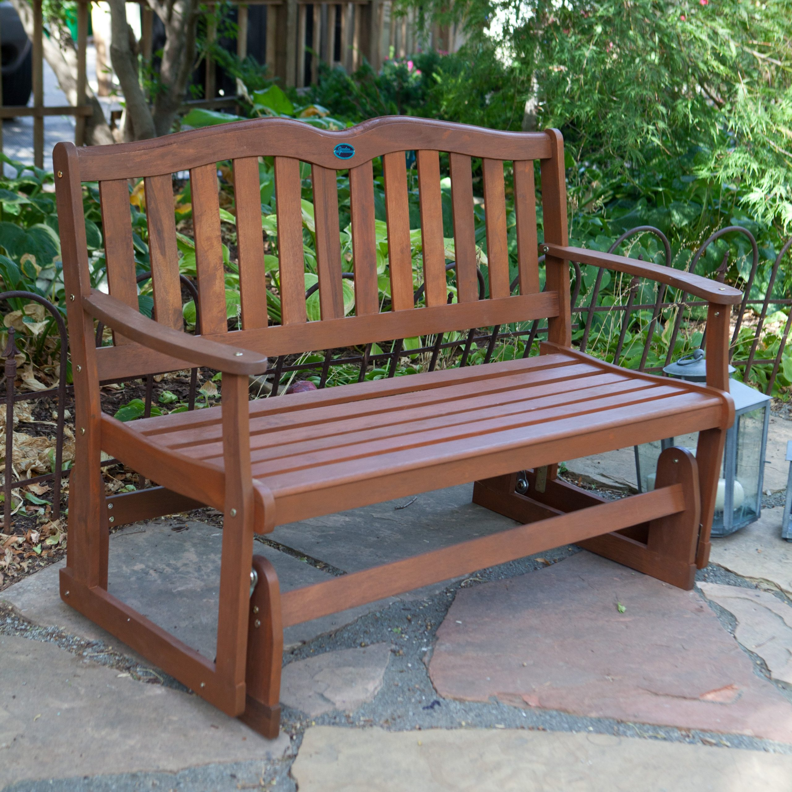 Natural Wood Outdoor Patio Jordan Manufacturing Alpine Ft In Loveseat Glider Benches With Cushions (View 16 of 25)