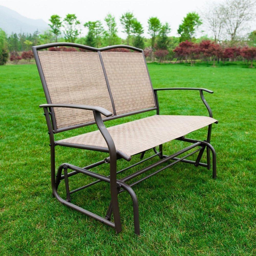 Naturefun Patio Swing Glider Bench Chair Garden Glider Within Steel Patio Swing Glider Benches (View 13 of 25)