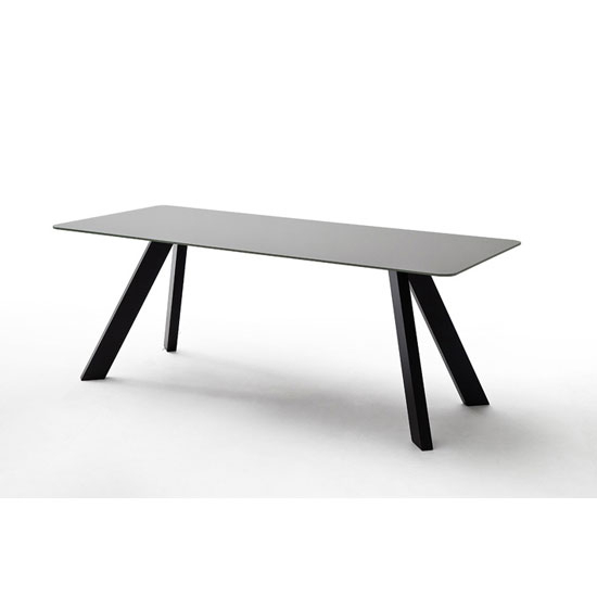 Nebi Glass Dining Table In Grey With Metal Legs Inside Glass Dining Tables With Metal Legs (View 9 of 25)