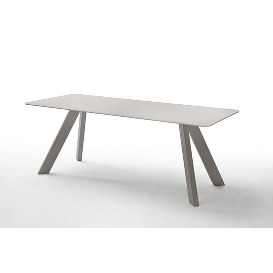 Nebi Glass Dining Table Wide In Taupe With Metal Legs Inside Glass Dining Tables With Metal Legs (View 13 of 25)