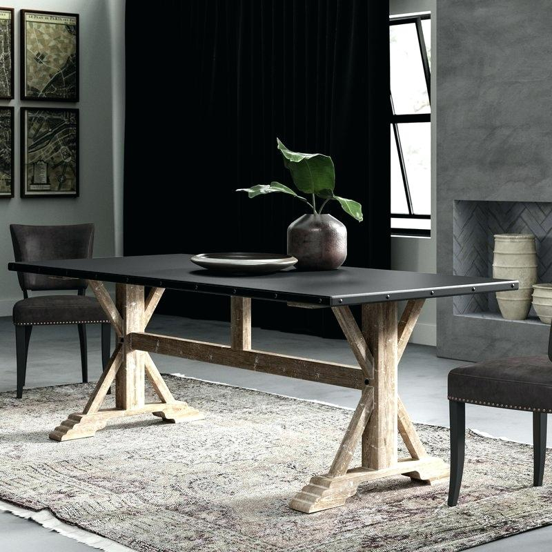 Nelda Dining Table 84 Dining Table 84 Inch Rectangular In Acacia Dining Tables With Black Rocket Legs (Image 21 of 25)