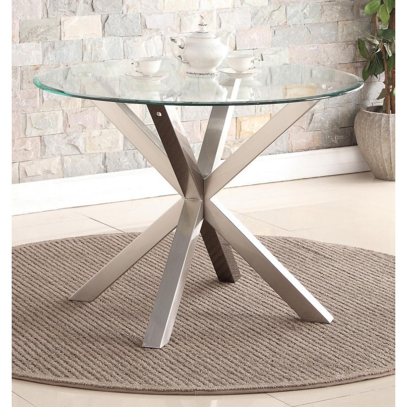 Nelson Dining Table Round Clear Glass Top Brushed Stainless Steel Legs Throughout Dining Tables With Brushed Stainless Steel Frame (View 6 of 25)