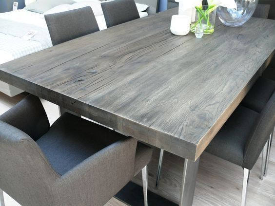 New Arrival: Modena Wood Dining Table In Grey Wash | Grey Throughout Thick White Marble Slab Dining Tables With Weathered Grey Finish (View 5 of 25)
